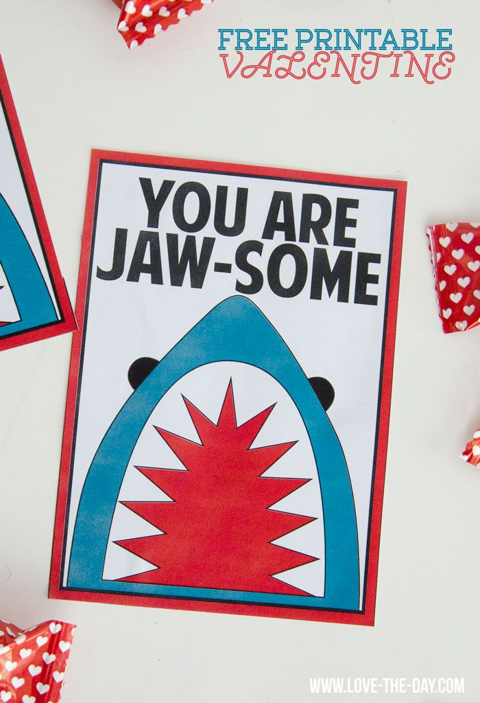 Shark-themed FREE Valentine Printables for your manly little man to give to his classmates on Valentine's Day.