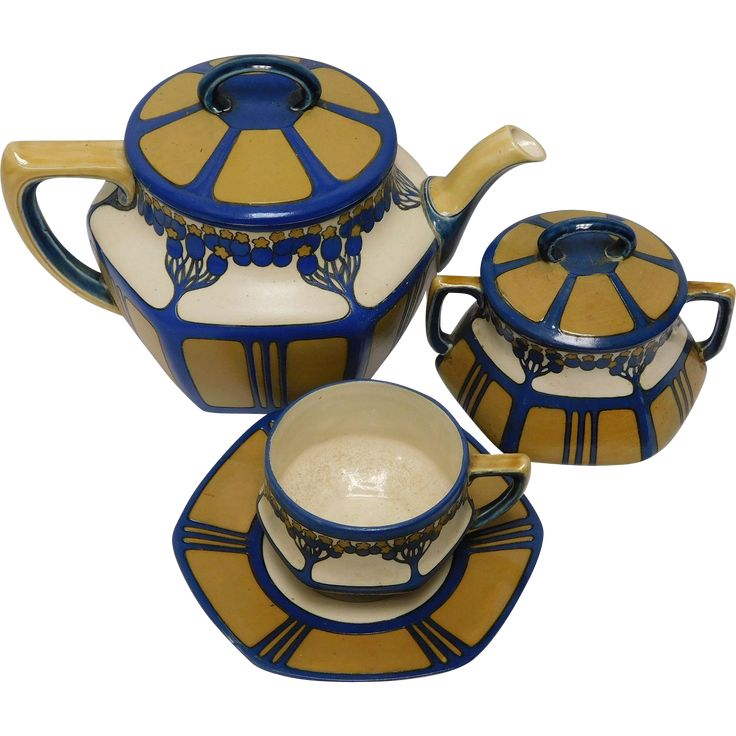 #VintageBeginsHere at www.rubylane.com @rubylanecom --Mettlach Tea Set of Large Teapot, Covered Sugar, and Cup & Saucer