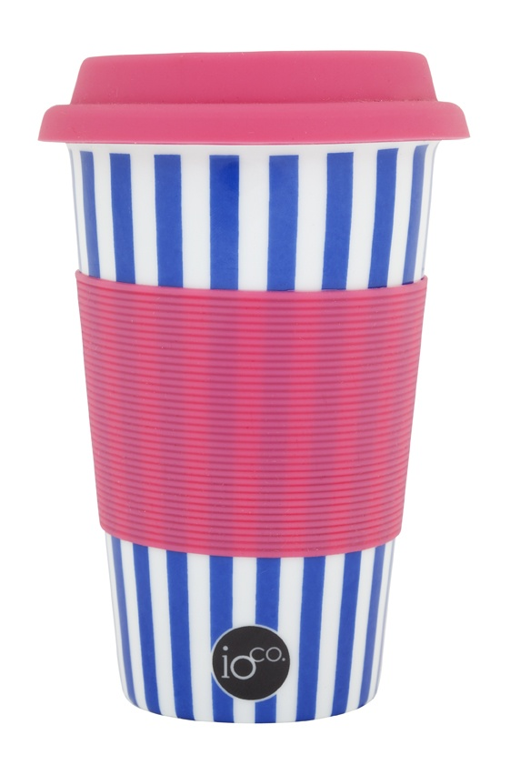 ioco coffee and tea traveller ceramic cups... blue and white strip with a pop of pink    shop now www.ioco.com.au