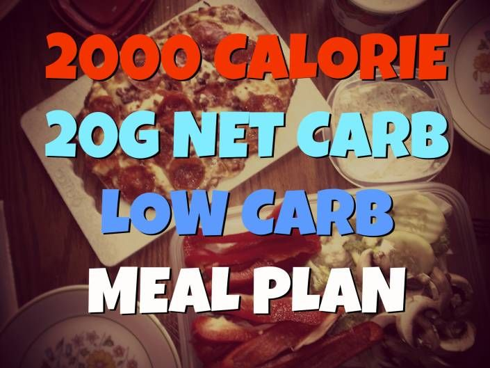 2000 Calorie 20g Net Carb One Week Low Carb Meal Plan
