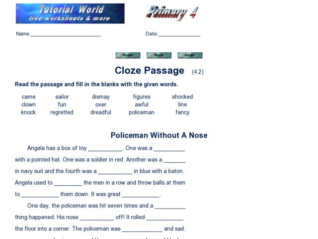Cloze test worksheets pdf