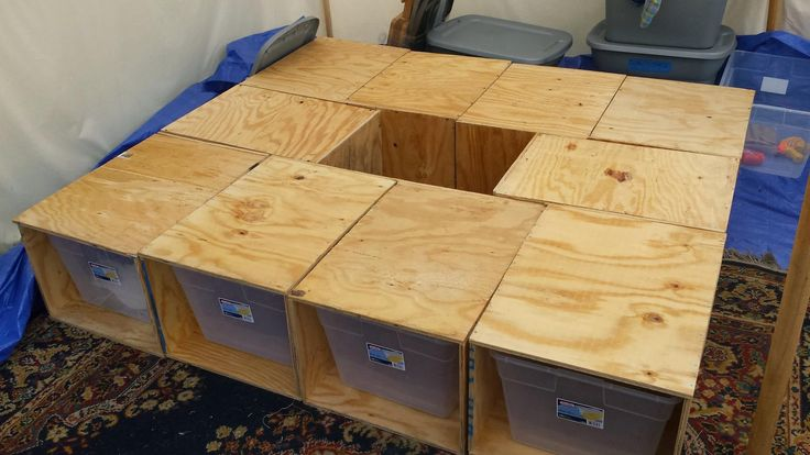 Great idea for camp bed platform and storage. (Idea from Joshua MacDonald - Pennsic War group)