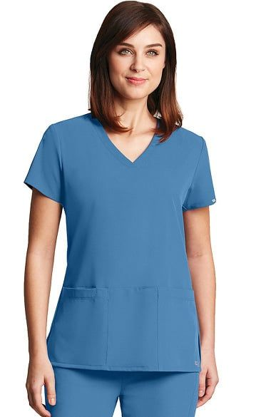 4fe2d3e655e Clean lines give the Signature Series by Grey's Anatomy™ Women's V-Neck  Scrub Top a polished look. Plenty of stretch and a hidden cell phone offer  the ...