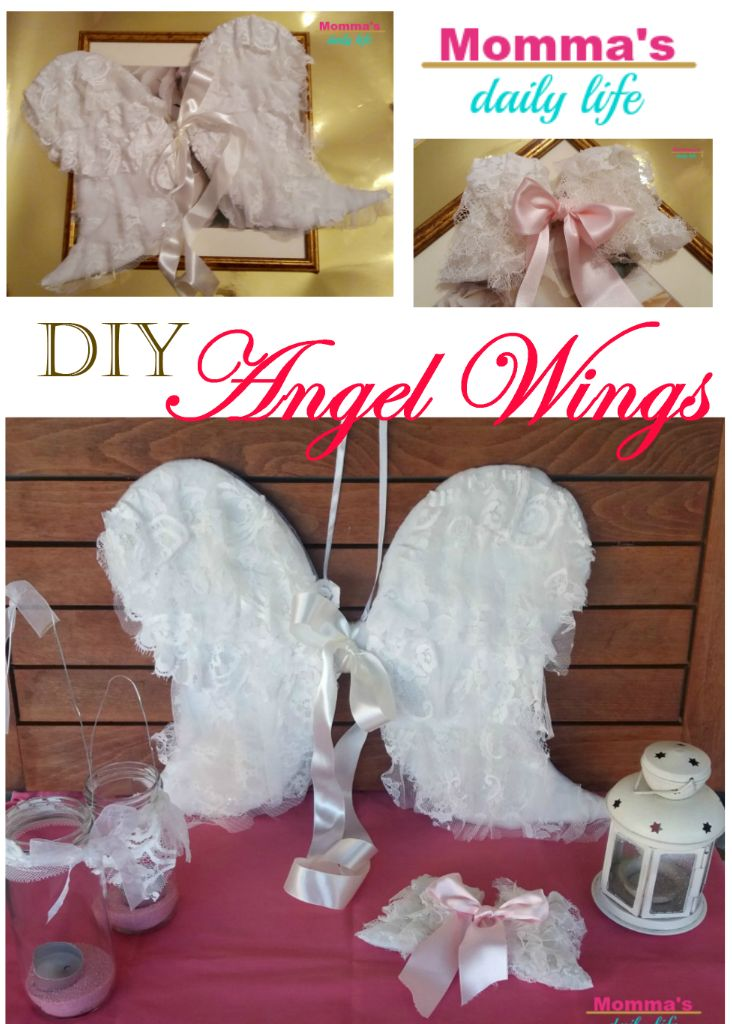 diy small and big Angel Wings with a little cardboard and lace!