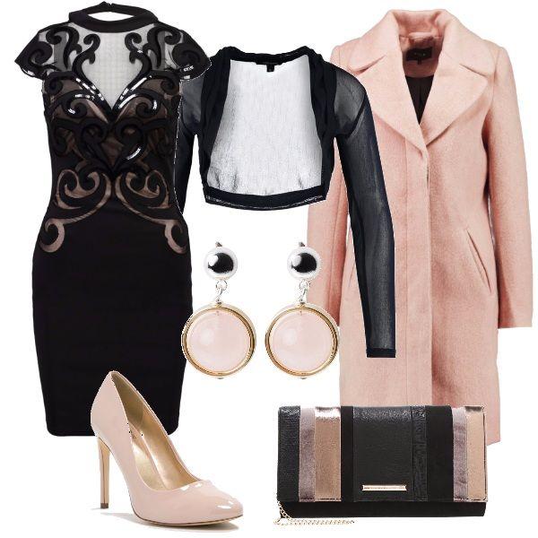Le feste si avvicinano ed aumentano le occasioni per sfoggiare un look accattivante. Un tubino a base di nero, rosa e trasparenze abbinato ad un coprispalle, anch'esso trasparente, e ad un cappotto e décolleté rosa cipria. Il tocco finale è dato dagli orecchini pendenti in tinta e dalla pochette che riprende tutte le tonalità dell'outfit.