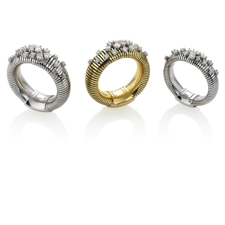 CHIMENTO Stardust yellow and white gold rings with diamonds.