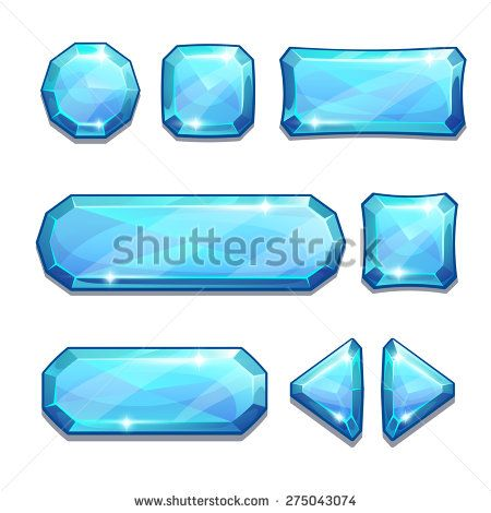 Set of blue crystal buttons, isolated on white - stock vector