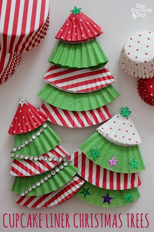 Cupcake liner Christmas Tree ornaments -- These would be so fun and easy for kids to make.