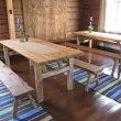 Pöytä ja penkit  Romuritari - Asiakastyöt, kaapit, lankkupöytä ym.