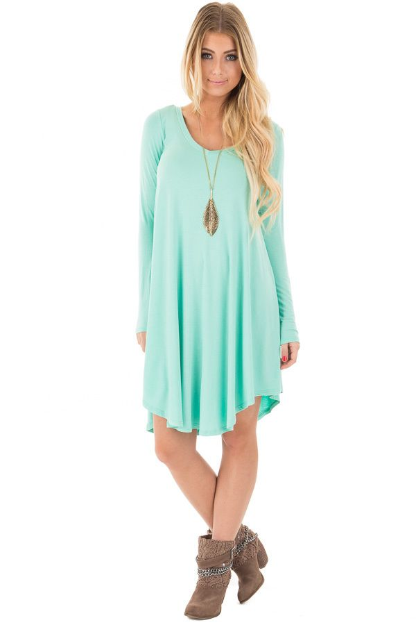 Lime Lush Boutique - Mint Long Sleeve Tunic Dress, $29.99 (https://www.limelush.com/mint-long-sleeve-tunic-dress/)
