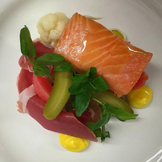 Last Saturday's Starter 4 310 @St David's college 50th Anniversary. Salmon confit Serrano ham pickles rapeseed Aioli #olivetreecatering #sousvide #sslmon #foodporn #chefsofwales #chefsofinstagram #theartofplating #artofplating #fish#salmon #appetiser by danny_chef