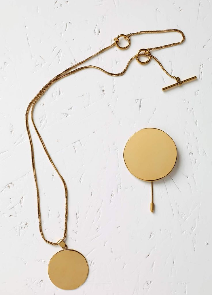 Plate Short / Long Necklace in Brass - Fall / Winter Collection 2015 | CÉLINE