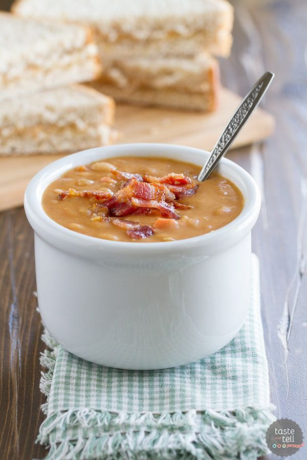 Skip the can – this Homemade Bean and Bacon Soup is hearty and filling and filled with veggies...