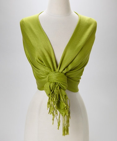 Take a look at this Green Pashmina-Silk Blend Scarf by Italmode on #zulily today!   good idea on how to wear it!