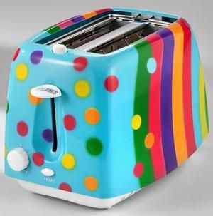this makes me want to make toast :): Kitchens, Polka Dots, Pattern, Colors Toaster, Fancy Breakfast, Inside Outside, Mornings, Design, Colors Things