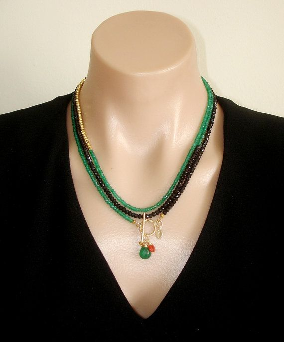 Ashira Black Spinel and Natural Green Onyx, Gold Pyrite Gemstone Necklace with Charms - One of a Kind