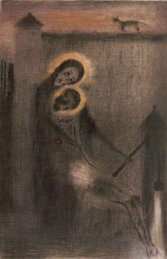 Pieta u studně, suchá jehla s monotypem, 1949
