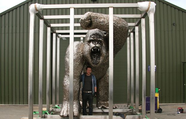 A huge gorilla statue made entirely of spoons for entertainer Uri Geller  - The 12ft-high (3.6m) statue features about 40,000 spoons and has taken almost five months to build at the British Ironworks Centre in Oswestry. The spoons have been donated from across the world, as well as local schoolchildren.