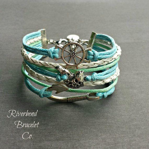 Fish Bracelet Fish Hook Bracelet Ship Wheel by RiverbendBraceletCo