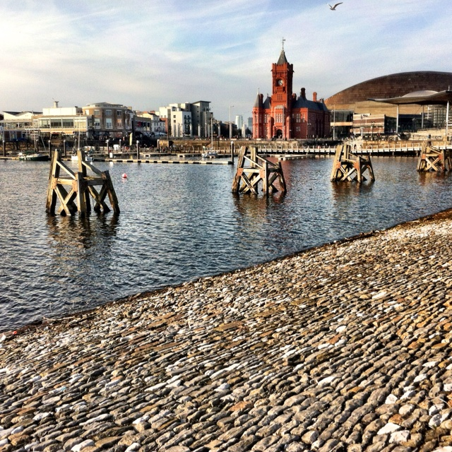 Capital of Wales - Cardiff.  The red building in the Pier Head building, The Senedd to the right and the Millennium centre behind. Mermaid Quay shops and bars is to the left behind them is Techniquest