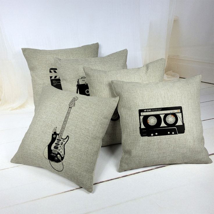 "18"" Vintage Style Cushion Cover Camera Guitar Motorcycle Pattern Cotton Linen Pillow Cover Cushion Cover PillowCase Home Decor"