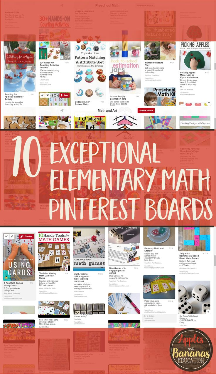 Here are 10 amazing math Pinterest boards to follow.  Focus on elementary content with great pins for ideas, classroom activities, and more.