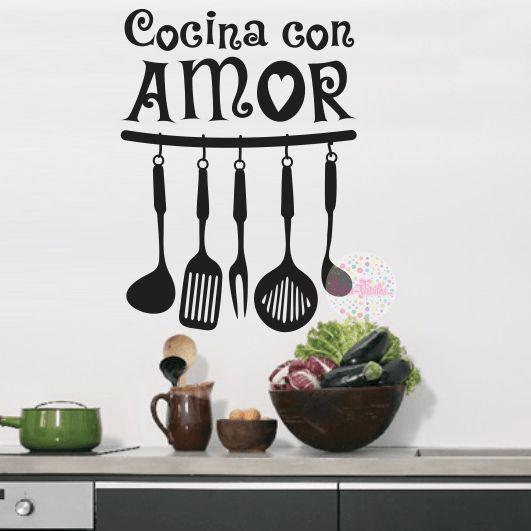 vinilo decorativo pared cocina, utensilios, cocina con amor