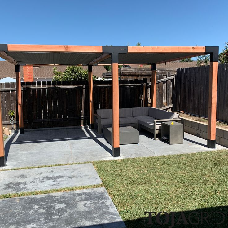Double pergola kit with 2 shade sails for 6x6 wood posts