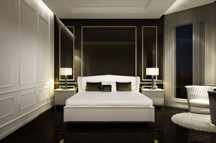 A luxurious master bedroom design in black and white with clean lines, marble floor and charming cup armchairs.