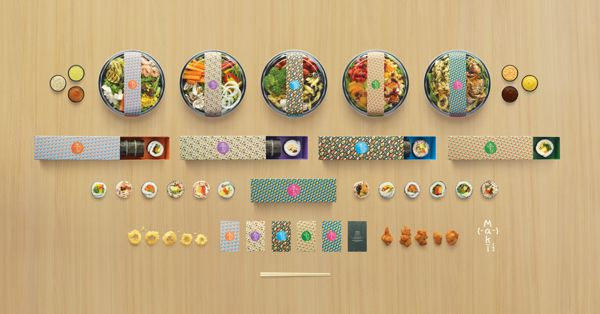 Endearing Sushi Store Packaging Features Vibrant, Hand-Drawn Food Patterns - DesignTAXI.com