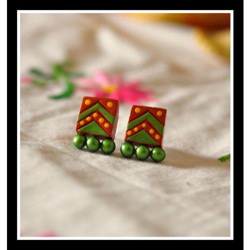 Green terracota stud  - Online Shopping for Earrings by Artkarte