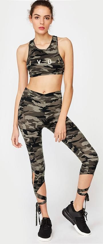 6fc7b7db7d2bb4 Cute Sporty Workout Outfit Ideas for Women for Teens - Criss Cross Tie Up Cropped  Leggings in Camouflage - ideas de atuendo deportivo lindo para mujeres ...