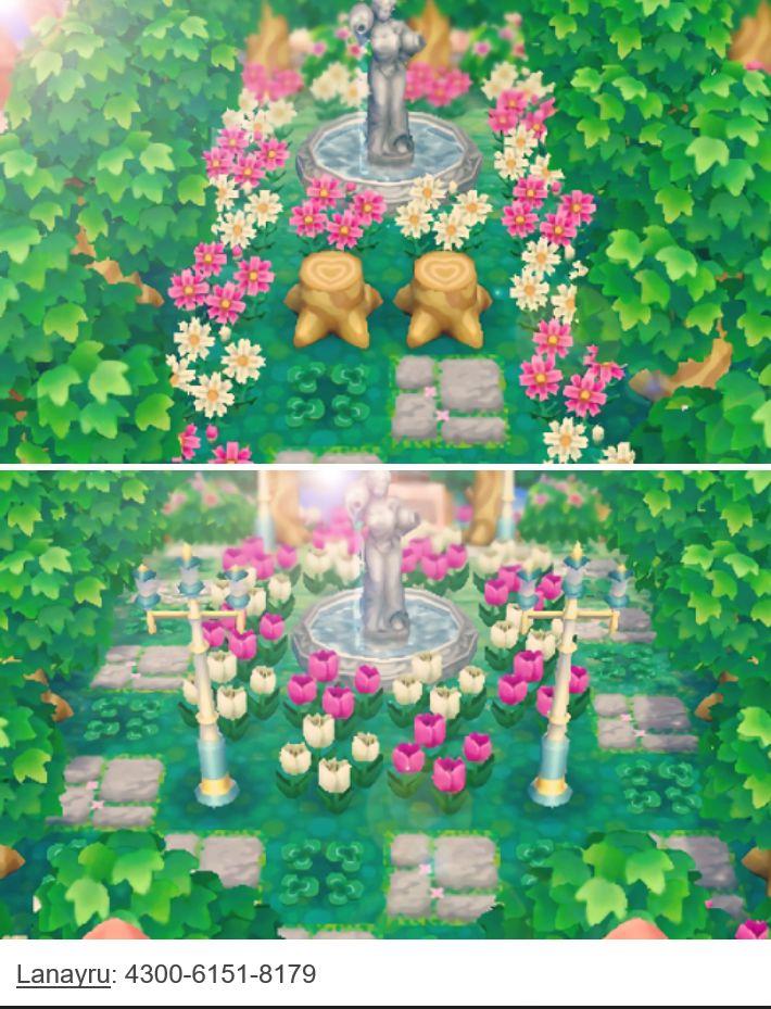 Pour faire cette allée il te faut : 1. Des troncs d'arbres-des cosmos roses et blanches-des trèfles à quatre feuille-des motifs style pierre au choix-une statue fontaine-des arbres. 2. Des tulipes roses et blanches-des motifs style pierre au choix-des lampadaires féeriques-une statue fontaine-des arbres.
