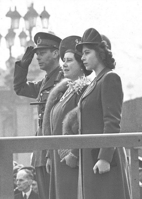 King George IV, Queen Mother and Elizabeth Bowes Lyon, now Queen Elizabeth, during WWII