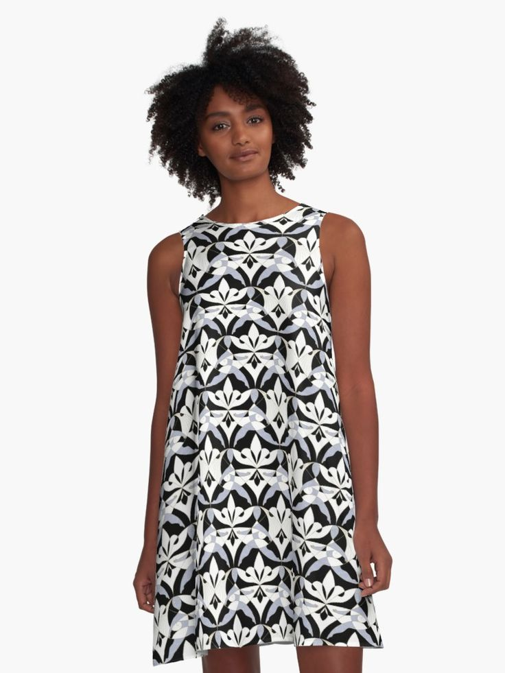#Woman #Girls #Cubism #Lady #girly #Sisterhood #Lis #Flower #Interwoven #Black #xenon #blue #Mia #redbubble #aline #dress