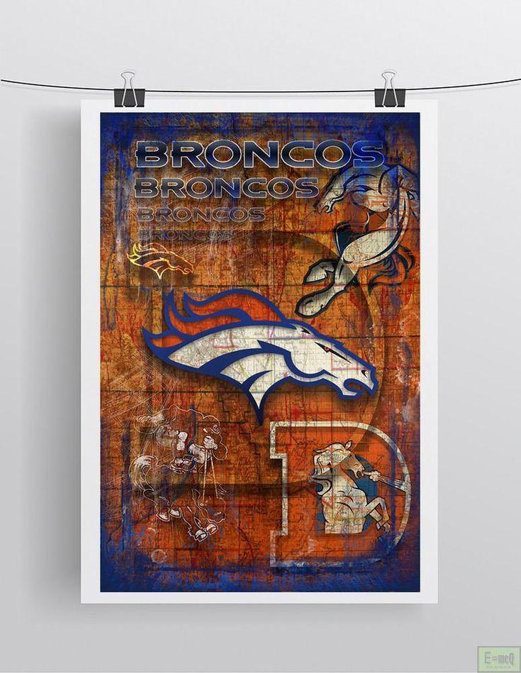Denver Broncos Football Poster, Denver Broncos Layered Sports Print, Broncos Gift, Denver Colorado