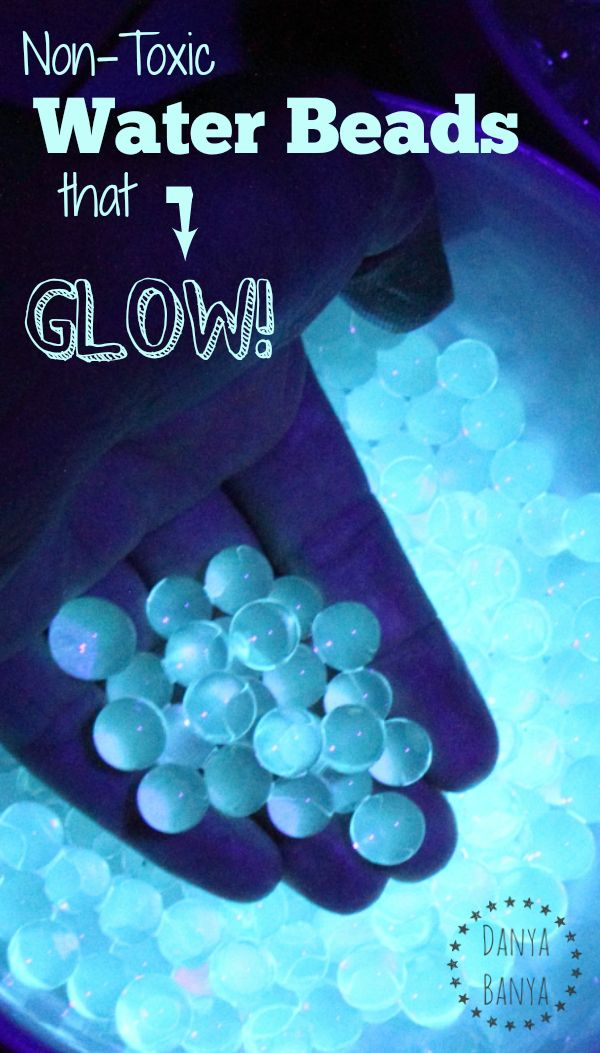 clear, non-toxic water beads, 2 cups tonic water (with quinine as ingredient) and a UV light is all you need!
