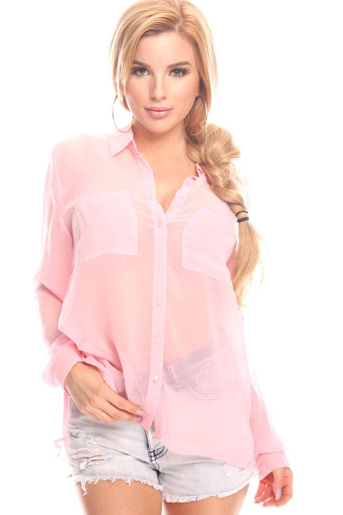 Lolli Couture SHEER CHIFFON DOUBLE POCKET ACCENT BLOUSE TOP light-pink S