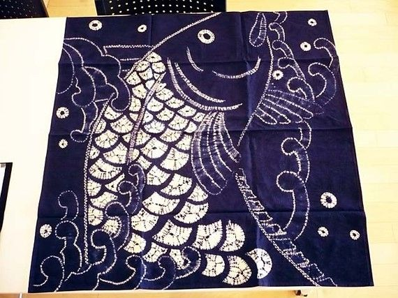 Japan Furoshiki table cloth mat indigo dyeing by JapanFUROSHIKI, $39.99