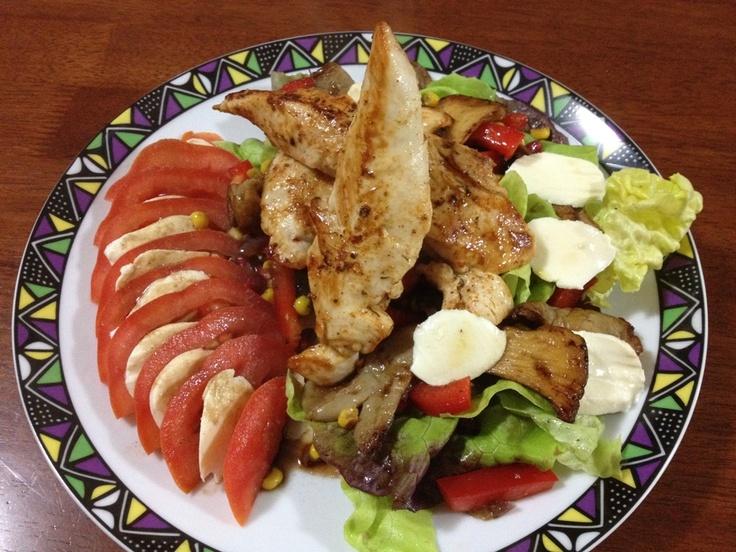 Carina's Favourite Winter Salad with Mozarella Cheese & Chicken Tenderloins