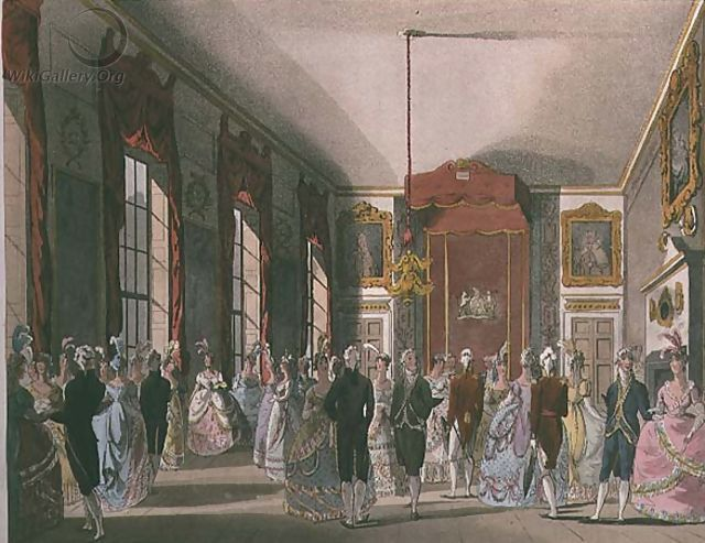 Drawing Room, St. James' from Ackermann's Microcosm of London by & Pugin, A.C. Rowlandson, T. (1808) Note the extravagant court dress.