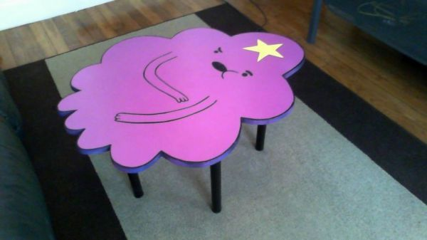 Baaky, an artisan in France, makes coffee tables inspired by pop culture, including Ghostbusters and Star Wars. Here's a table that looks like Lumpy Space Princess.