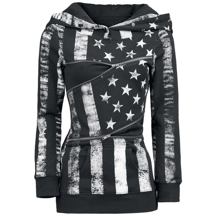 This popular long sweater made by Pussy Deluxe has a fancy flag print. The optical highlight are two zippers running horizontally over the front.