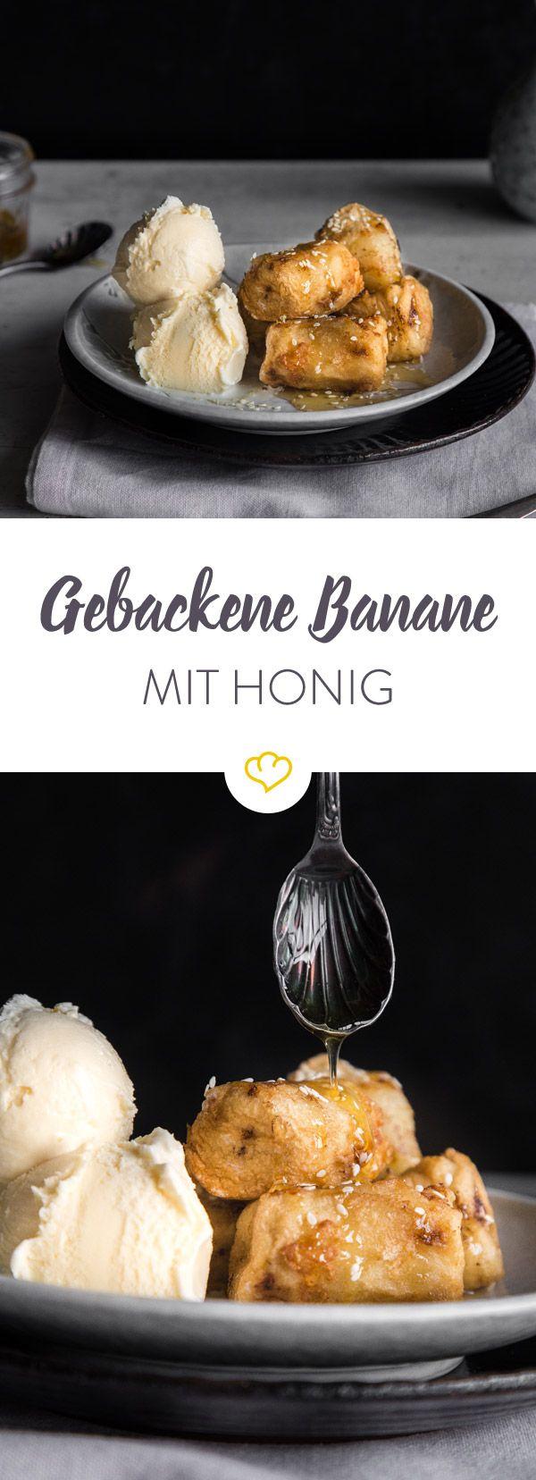 Dessert geht immer! Selbstgemacht schmeckt die gebackene Banane mit Honig und cremigem Vanilleeies sogar noch besser, als bei beim Chinesen um die Ecke.