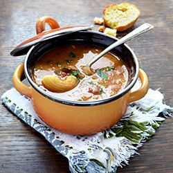 """Pasta e fagioli, or """"pasta and beans"""", is a traditional Italian hearty soup. Print Pasta e Fagioli (Pasta and Beans) Serves:4  Ingredients 300 g (10 oz) cannelini beans, soaked overnight and drained 200 g (7 oz) small pasta 200 g (7 oz) tomatoes, diced 30 g (1 oz) butter grated parmesan cheese 1 carrot, [...]"""