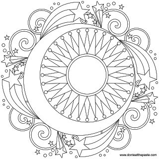 Sun, moon and stars mandala. coloring pages for grown ups