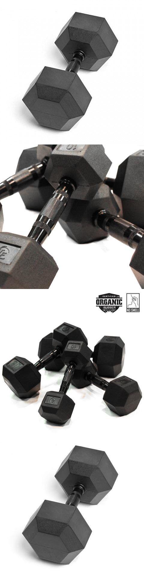 Element Fitness Virgin Rubber Commercial Hex Dumbbells - low odor- 65 lbs