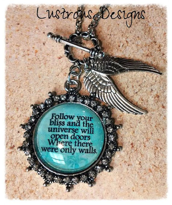 Follow Your Bliss necklace Joseph Campbell by LustrousDesigns, $16.00