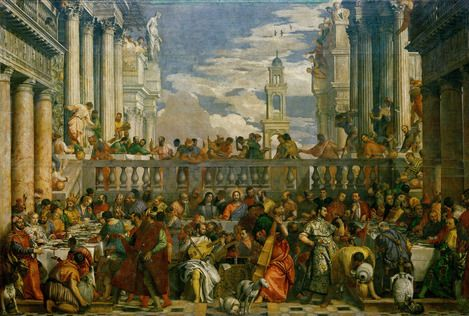 This expansive work depicts the wedding at Cana, the location of Jesus' first miracle according to the Gospel of John. Surrounded by a bustling Renaissance-era scene, Jesus is seated in the center of the canvas and stares directly at the viewer, in contrast to those around him. It is held by Louvre Museum.