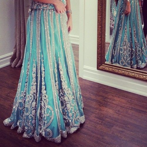 Desi Weddings Indian Bride lehenga with lots of strass